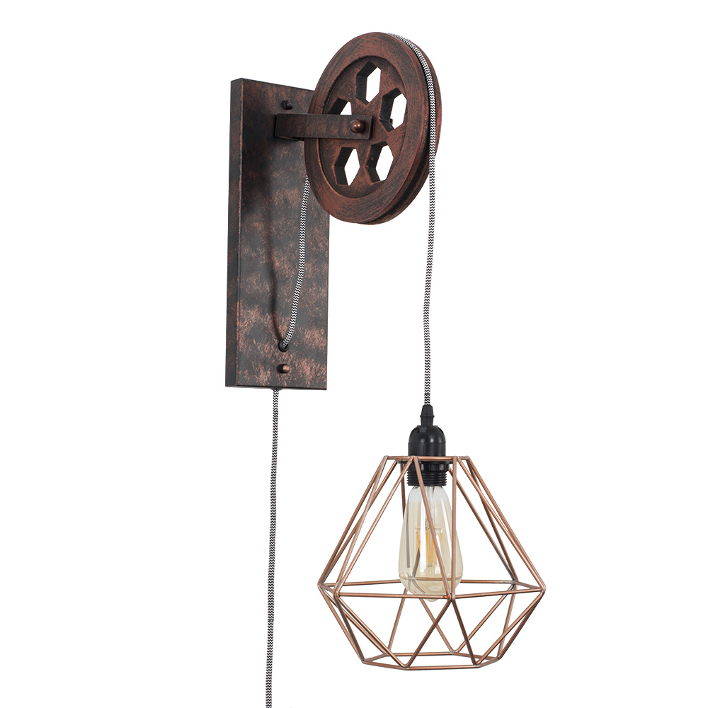 Anderton Pulley Wall Light with Copper Diablo Shade