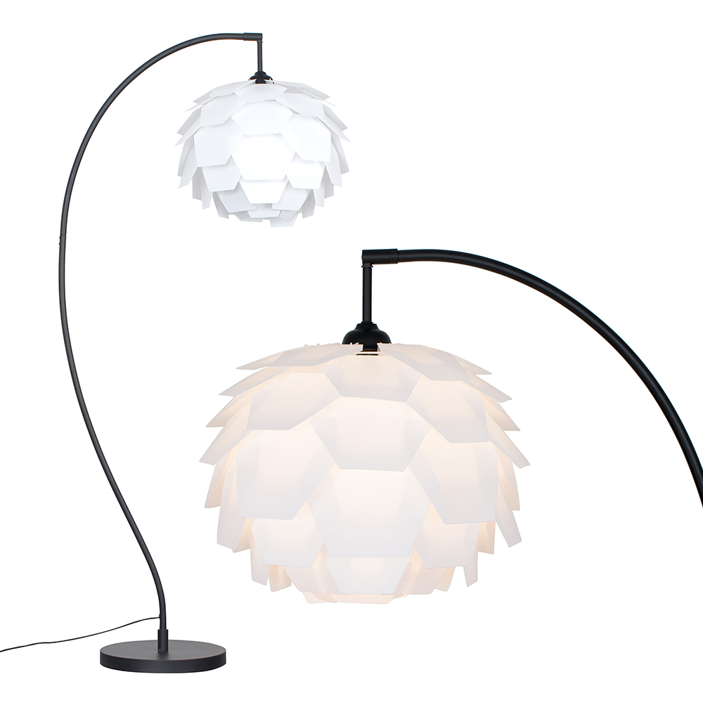 Archer Floor Lamp In Black With White Petale Shade