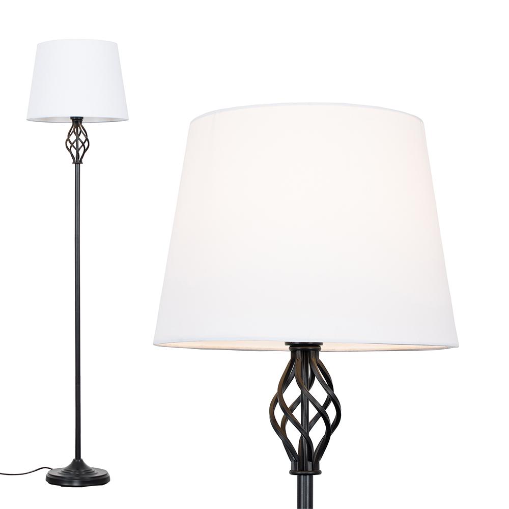 Memphis Black Floor Lamp with White Aspen Shade