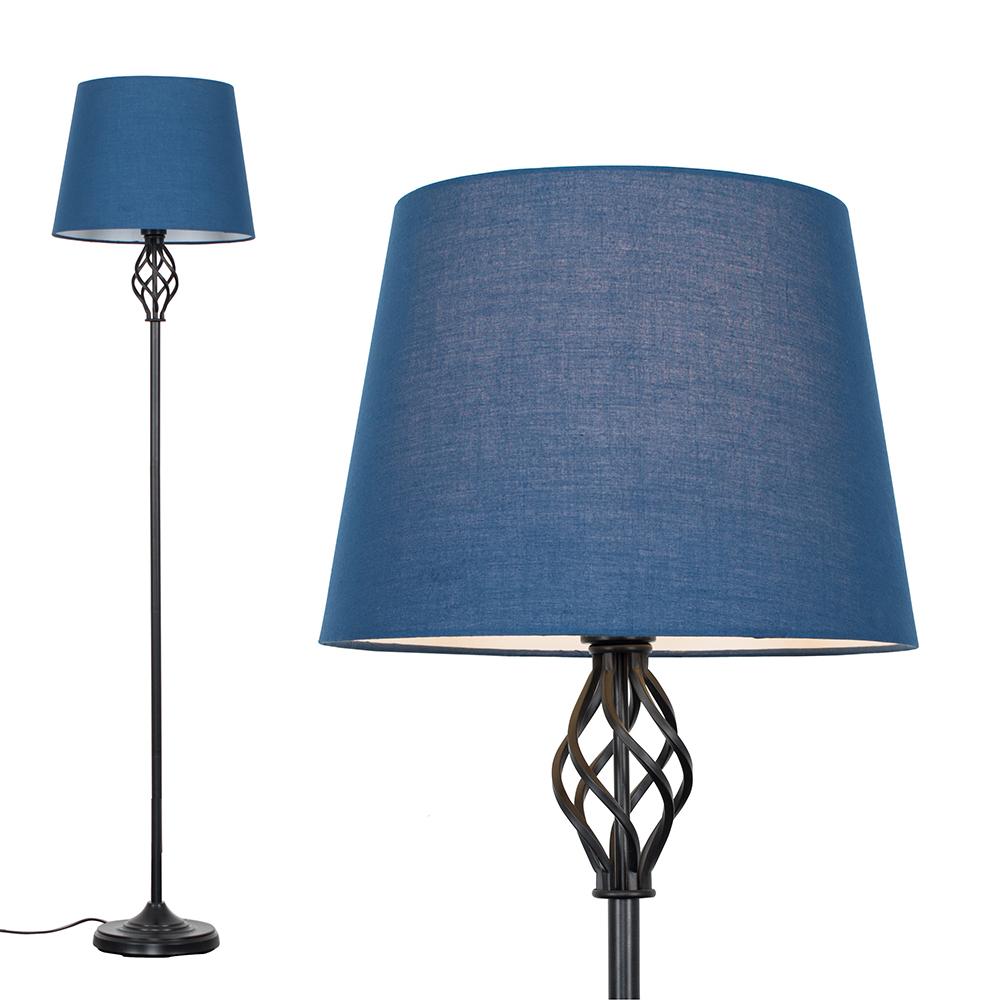 Memphis Black Floor Lamp with Navy Blue Aspen Shade