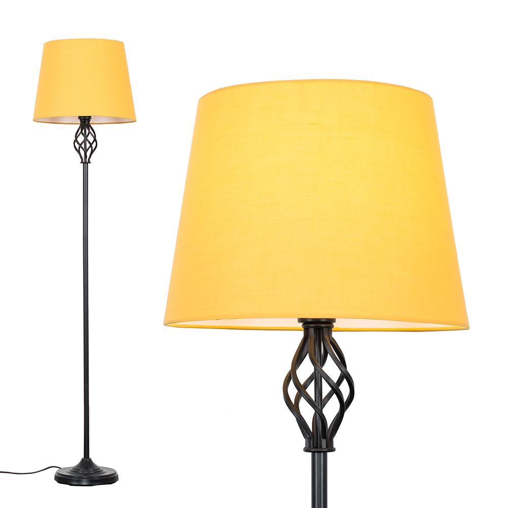 Memphis Black Floor Lamp with Mustard Tapered Shade