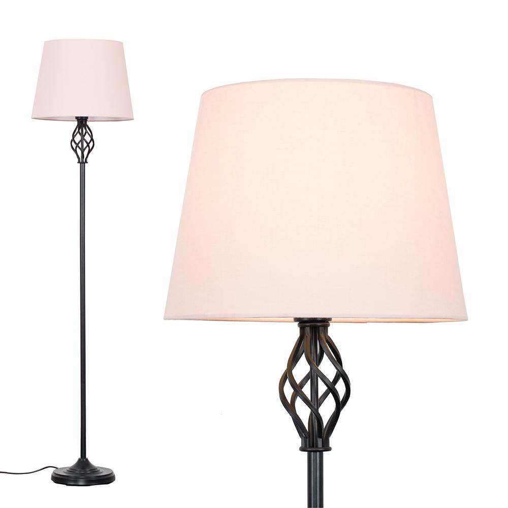 Memphis Black Floor Lamp with Dusty Pink Aspen Shade