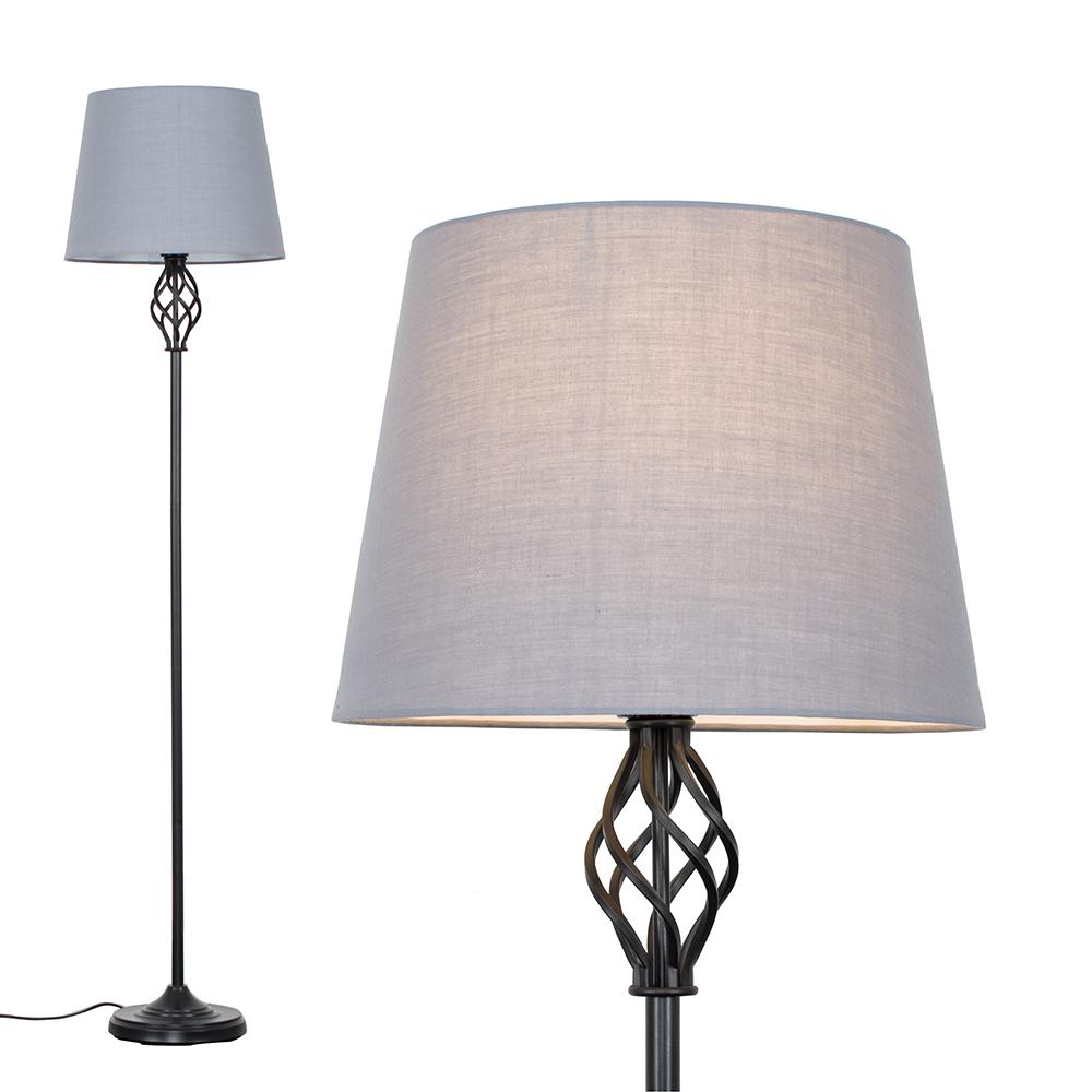 Memphis Black Floor Lamp with Grey Aspen Shade