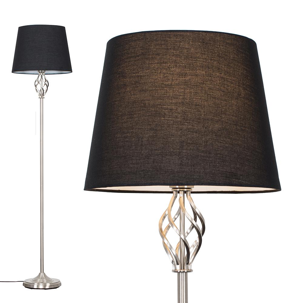 Memphis Brushed Chrome Floor Lamp with Black Aspen Shade
