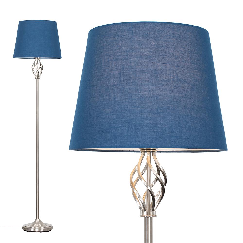Memphis Brushed Chrome Floor Lamp with Navy Blue Aspen Shade