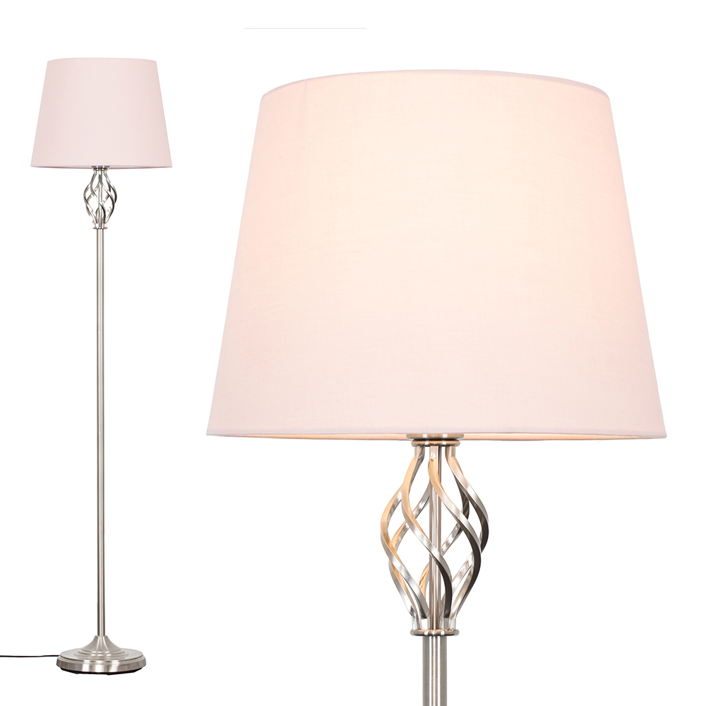 Memphis Brushed Chrome Floor Lamp with Dusty Pink Aspen Shade