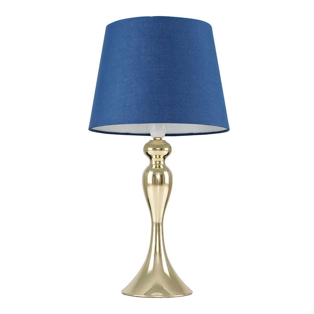 Faulkner Gold Touch Table Lamp with Navy Blue Aspen Shade