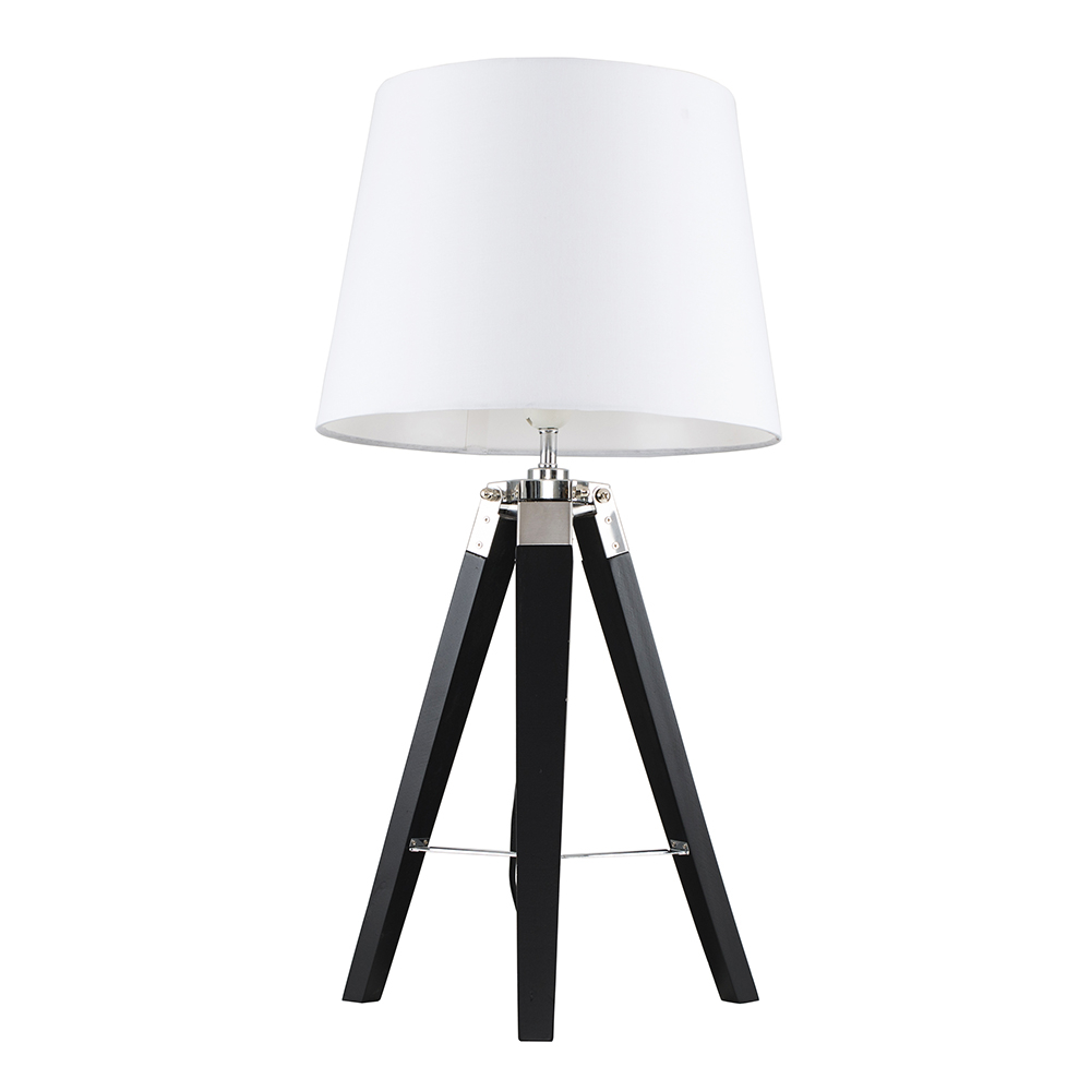 Clipper Black and Chrome Tripod Table Lamp with White Aspen Shade