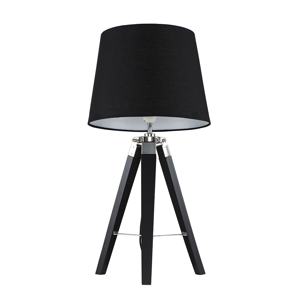 Clipper Black and Chrome Tripod Table Lamp with Black Aspen Shade