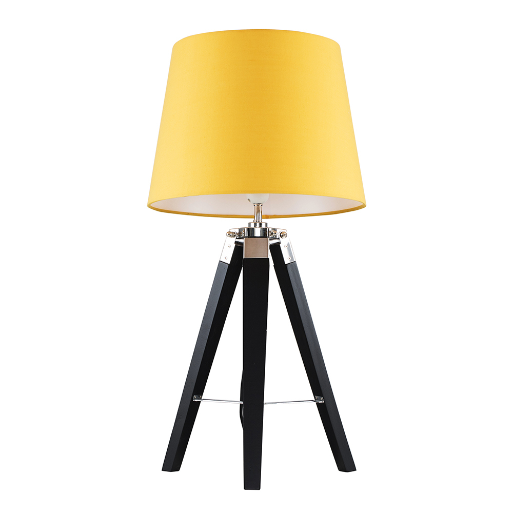 Clipper Black and Chrome Tripod Table Lamp with Mustard Aspen Shade