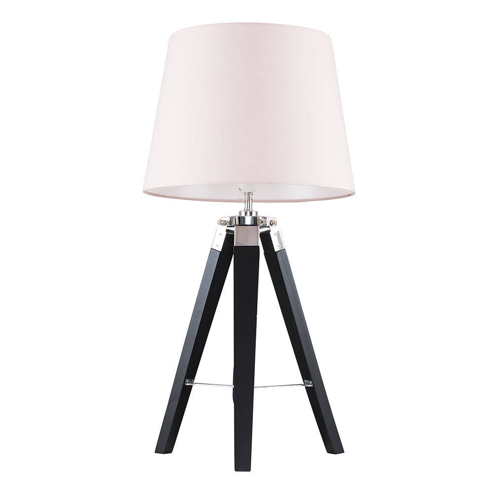 Clipper Black and Chrome Tripod Table Lamp with Dusty Pink Aspen Shade