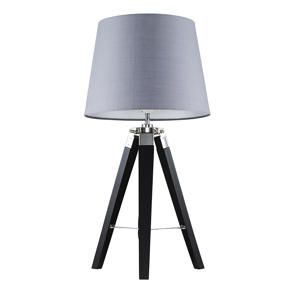 Clipper Black and Chrome Tripod Table Lamp with Grey Aspen Shade