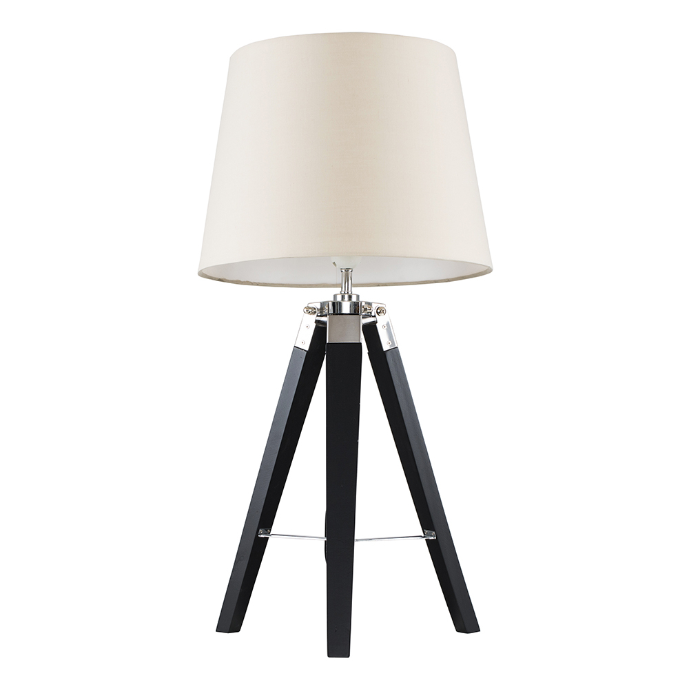 Clipper Black and Chrome Tripod Table Lamp with Beige Aspen Shade