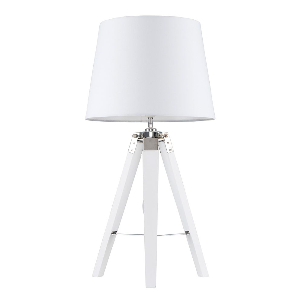 Clipper White and Chrome Tripod Table Lamp with White Aspen Shade