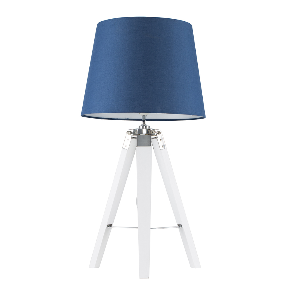 Clipper White and Chrome Tripod Table Lamp with Navy Blue Aspen Shade