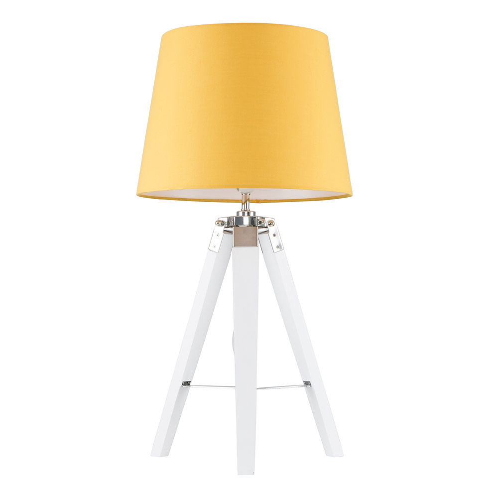Clipper White and Chrome Tripod Table Lamp with Mustard Aspen Shade