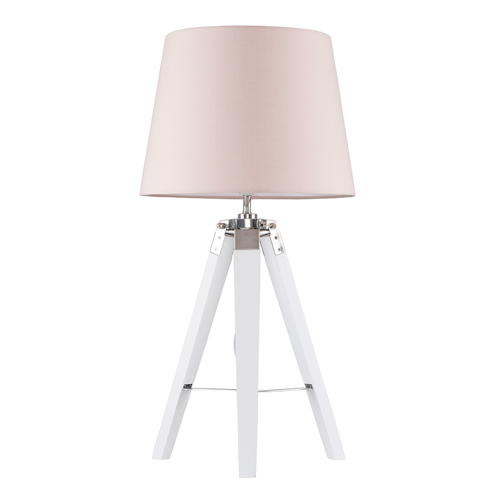 Clipper White and Chrome Tripod Table Lamp with Dusty Pink Aspen Shade