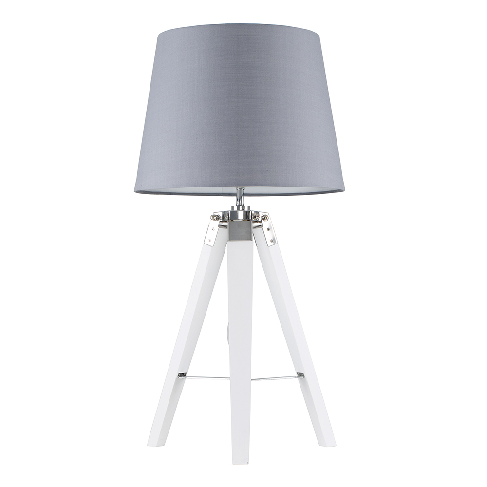 Clipper White and Chrome Tripod Table Lamp with Grey Aspen Shade