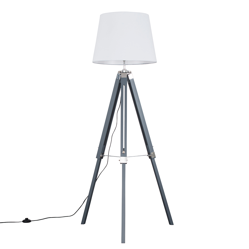 Clipper Grey and Chrome Tripod Floor Lamp with White Aspen Shade
