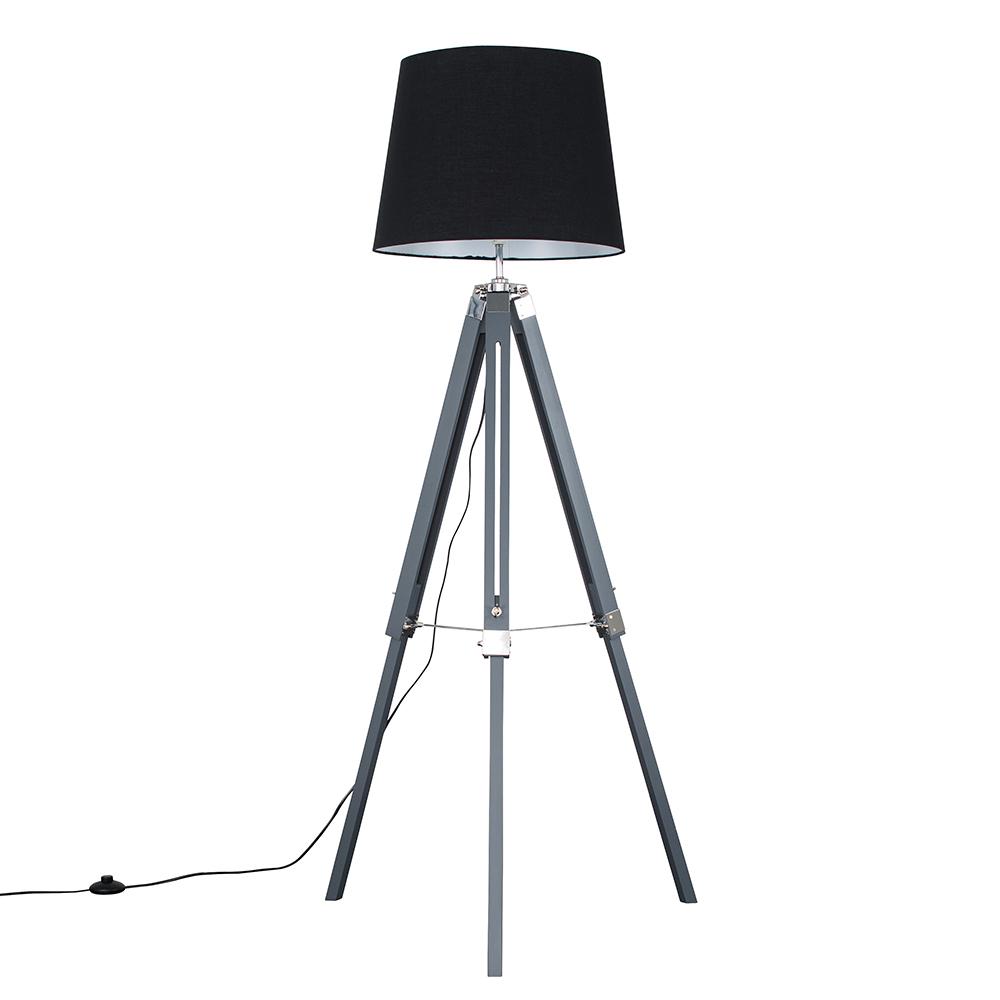 Clipper Grey and Chrome Tripod Floor Lamp with XL Black Aspen Shade