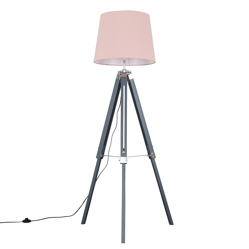 Clipper Grey and Chrome Tripod Floor Lamp with Dusty Pink Aspen Shade