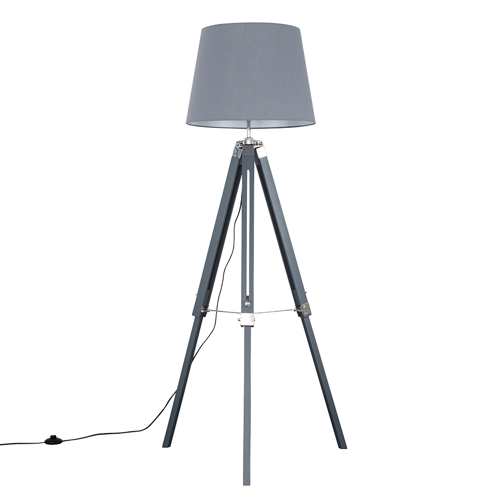 Clipper Grey and Chrome Tripod Floor Lamp with Grey Aspen Shade