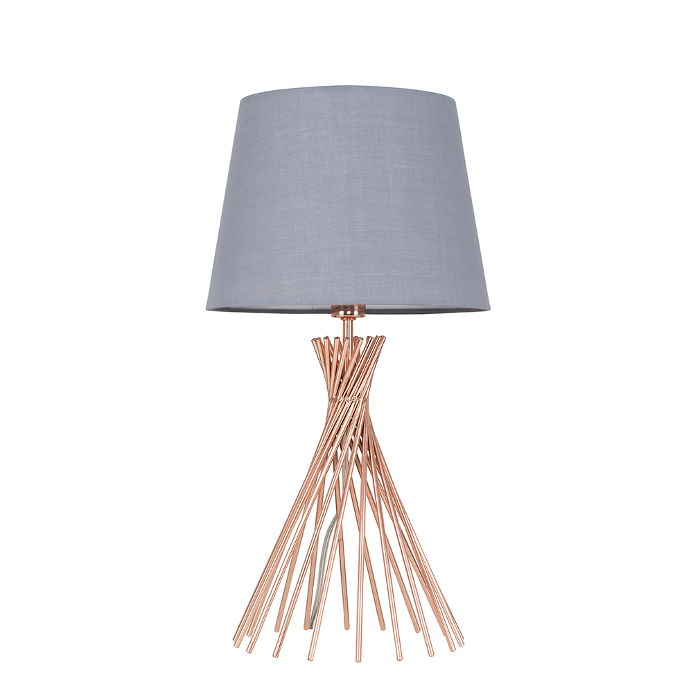 Gosforth Copper Table Lamp with Grey Aspen Shade
