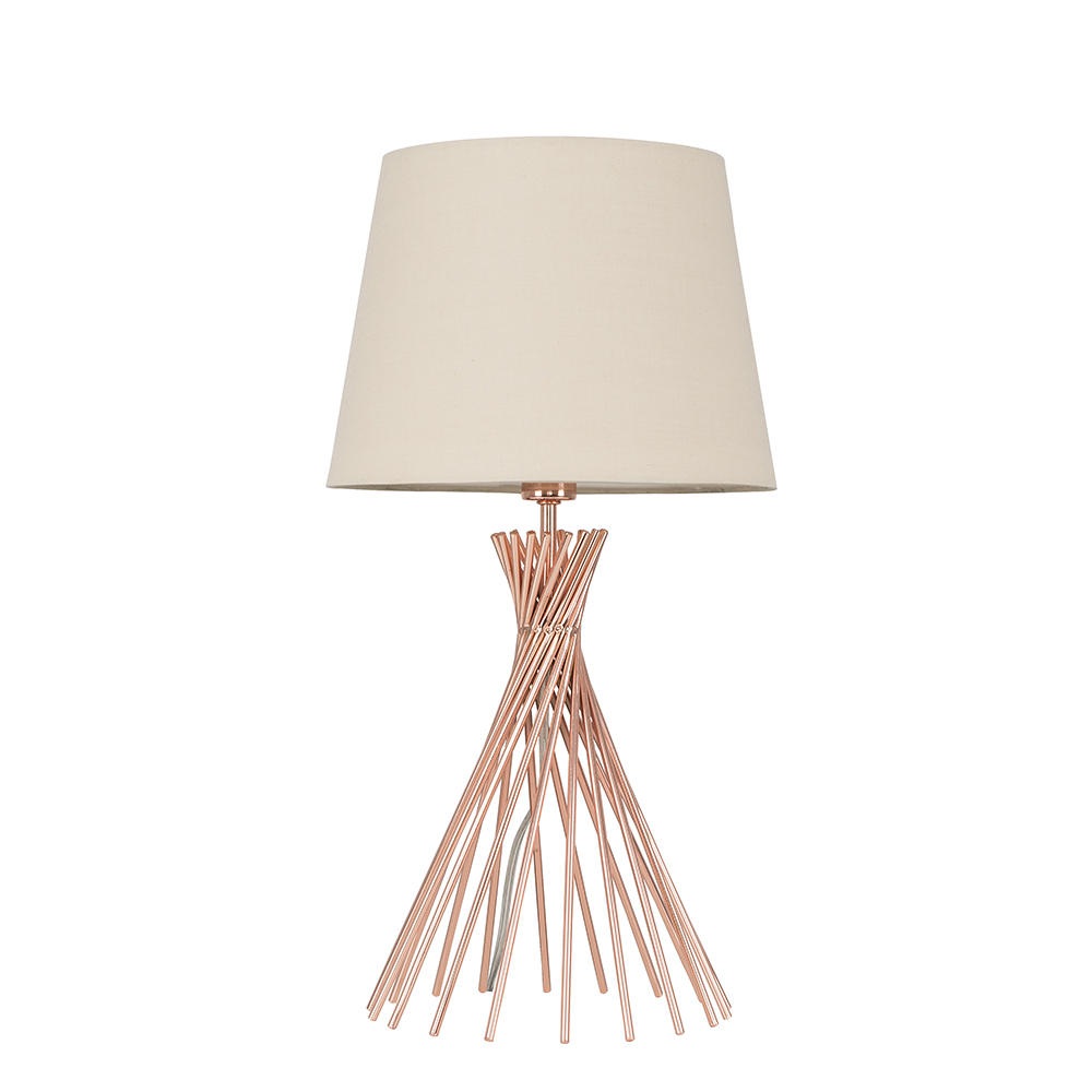 Gosforth Copper Table Lamp with Beige Aspen Shade