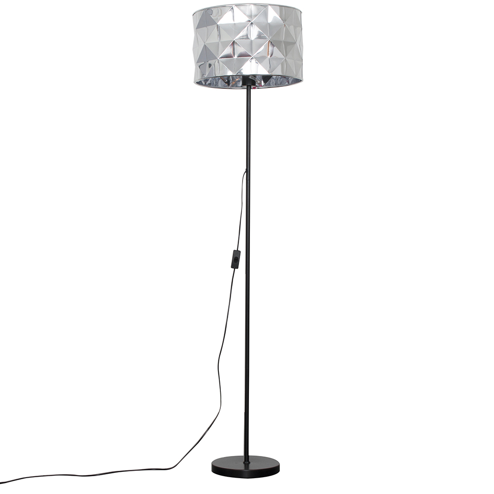 Charlie Black Floor Lamp with Chrome Geometric Shade