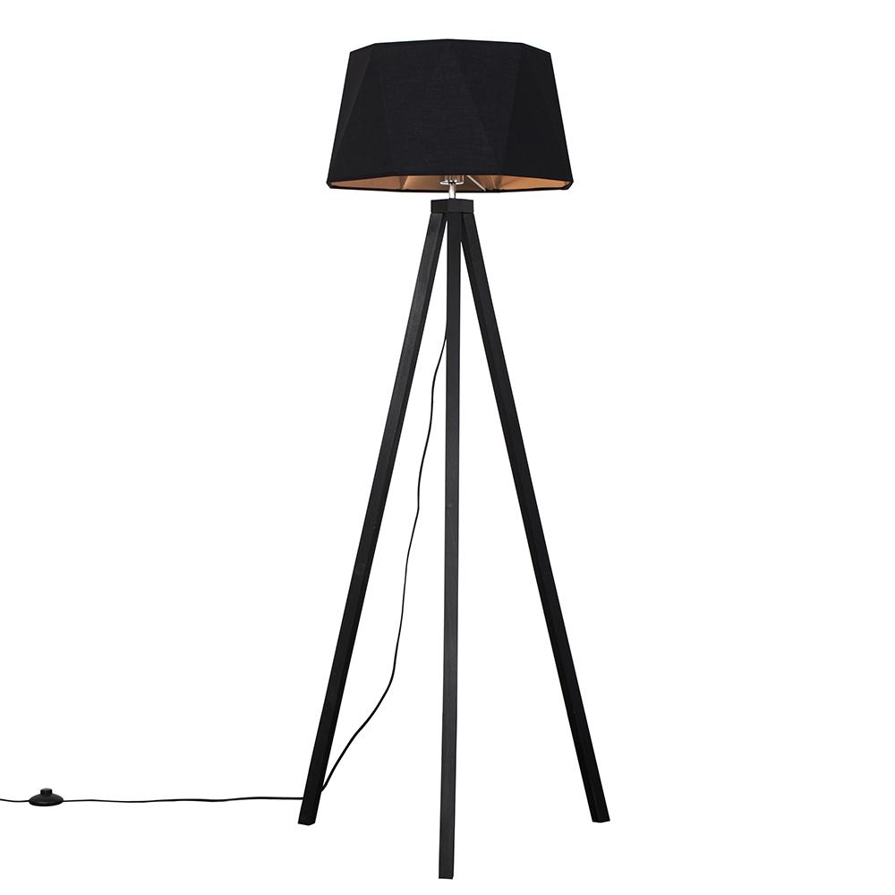 Barbro Dark Wood Tripod Floor Lamp with Toke Shade