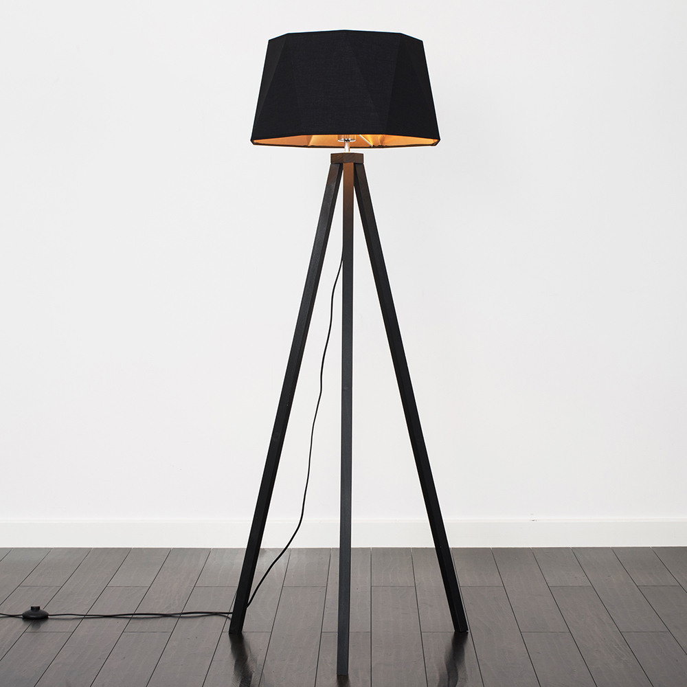 Wood Tripod Floor Lamp, Dark Wood