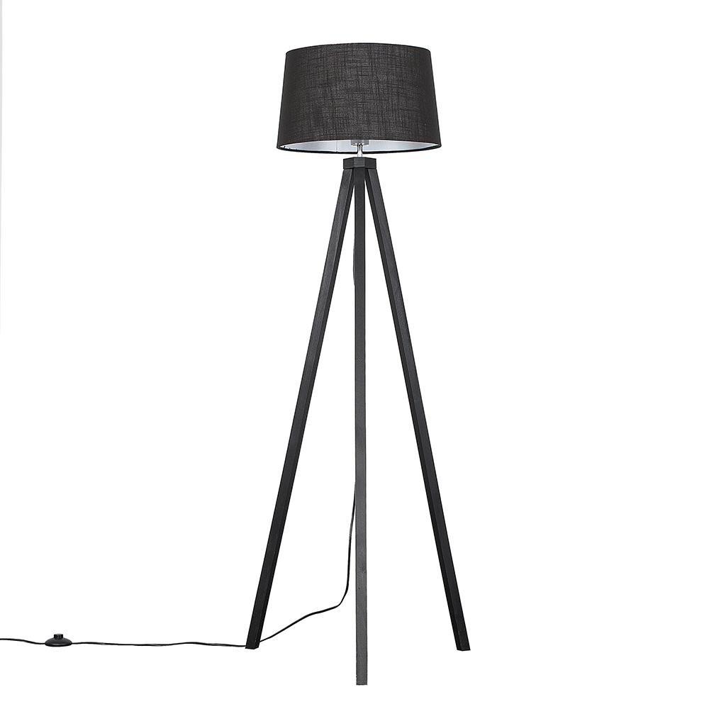 Barbro Dark Wood Tripod Floor Lamp with Black Doretta Shade