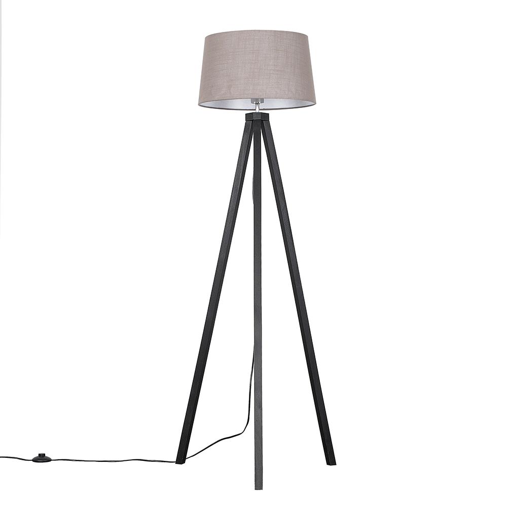 Barbro Dark Wood Tripod Floor Lamp with Grey Doretta Shade