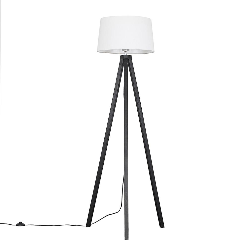 Barbro Dark Wood Tripod Floor Lamp with White Doretta Shade