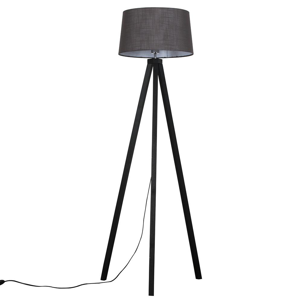 Barbro Dark Wood Tripod Floor Lamp with Dark Grey Doretta Shade