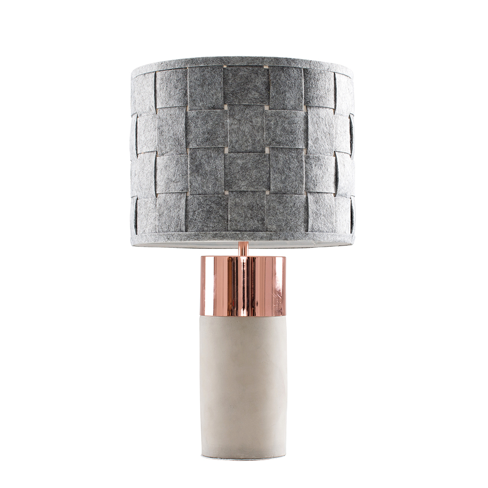 Finley Cement and Copper Table Lamp with Grey Monza Shade