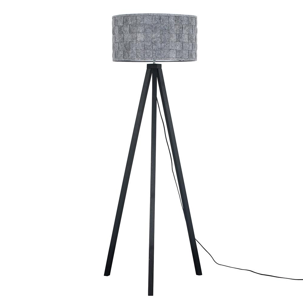 Barbro Black Wood Tripod Floor Lamp with XL Grey Monza Shade