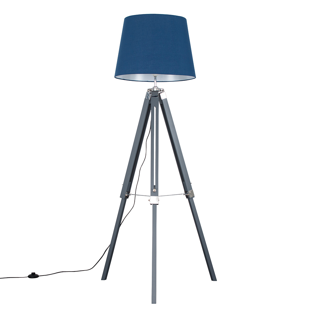 Clipper Grey and Chrome Tripod Floor Lamp with XL Navy Blue Aspen Shad