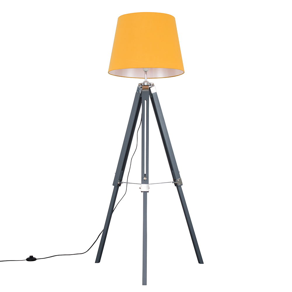 Clipper Grey and Chrome Tripod Floor Lamp with XL Mustard Aspen Shade