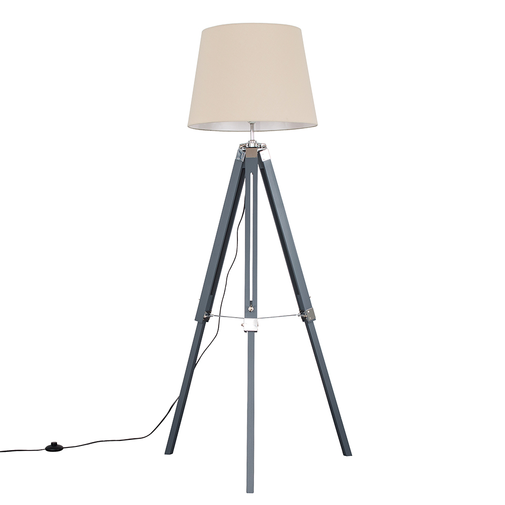 Clipper Grey and Chrome Tripod Floor Lamp with XL Beige Aspen Shade