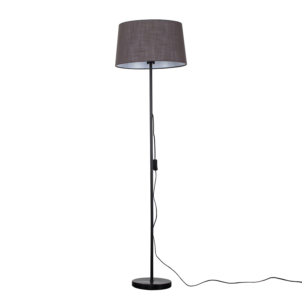 Charlie Black Floor Lamp with Dark Grey Doretta Shade
