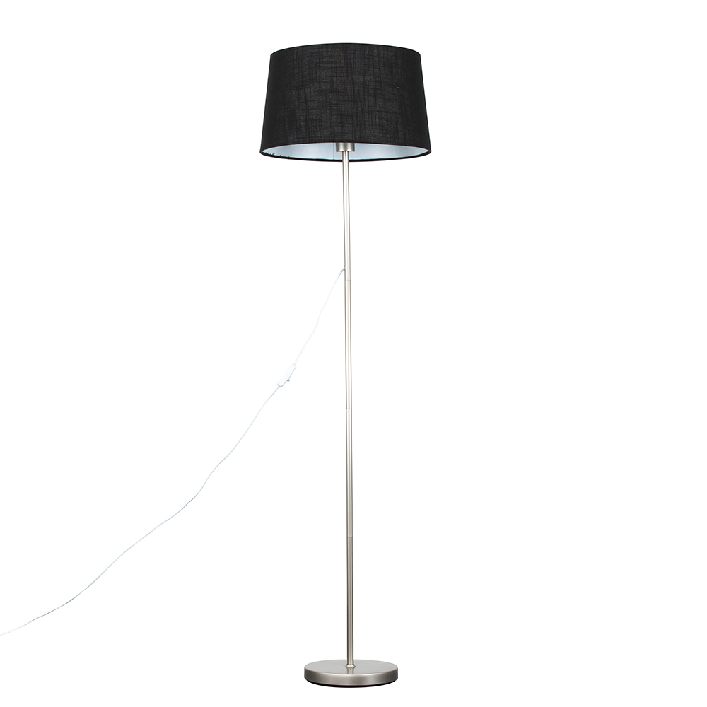 Charlie Brushed Chrome Floor Lamp with Black Doretta Shade