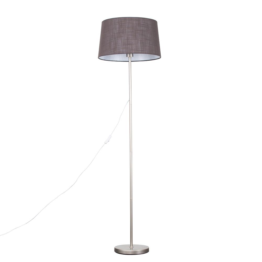 Charlie Brushed Chrome Floor Lamp with Dark Grey Doretta Shade