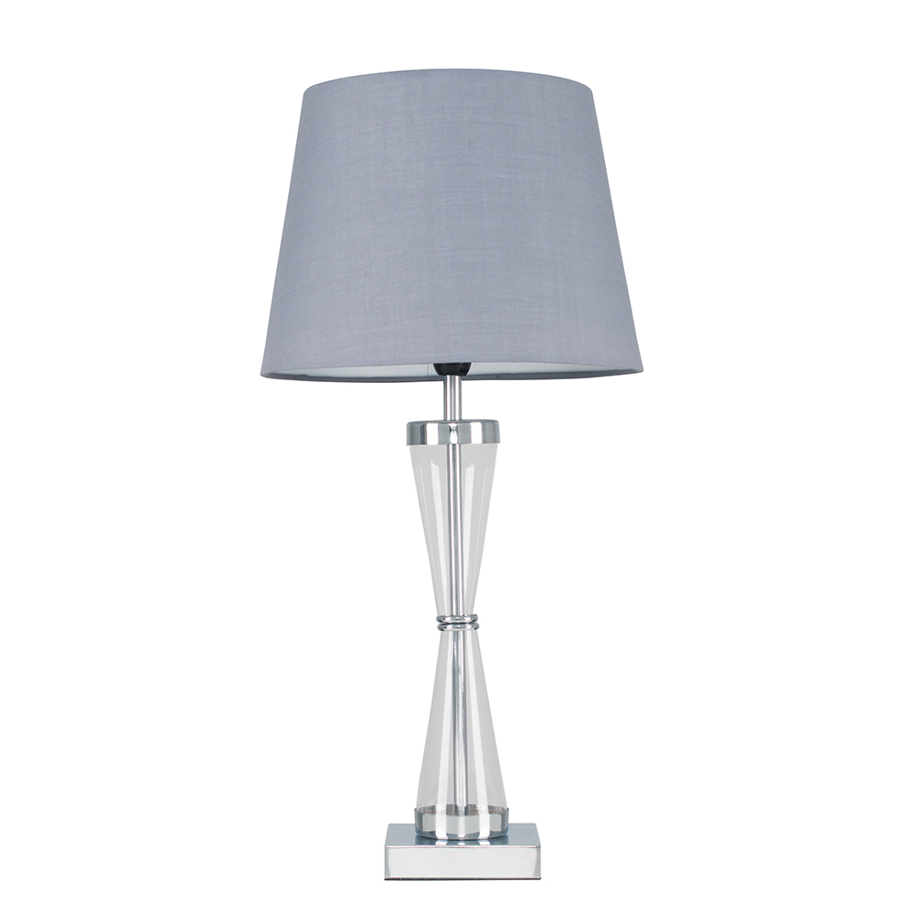 Bishop Chrome Table Lamp with Grey Aspen Shade