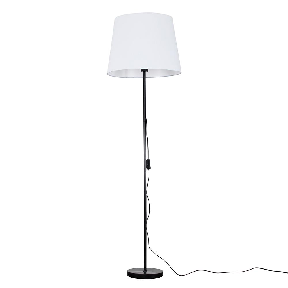 Charlie Black Floor Lamp with XL White Aspen Shade