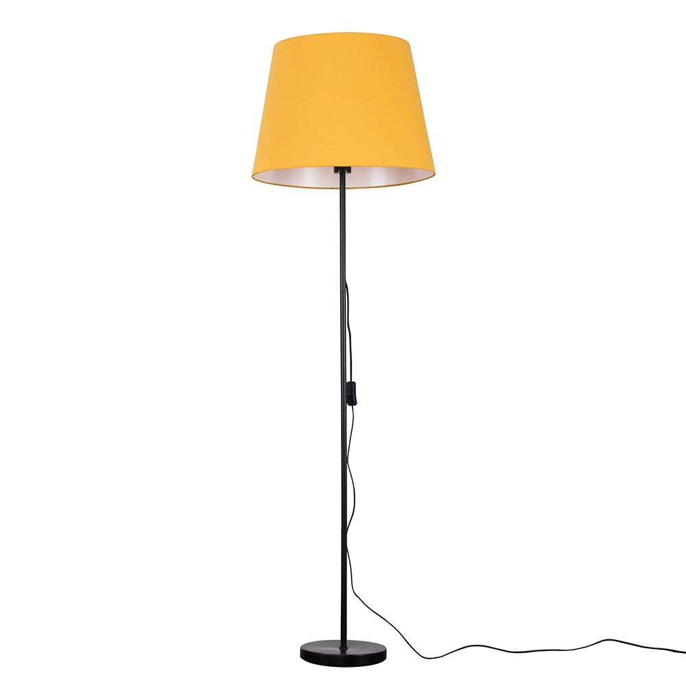 Charlie Black Floor Lamp with XL Mustard Aspen Shade