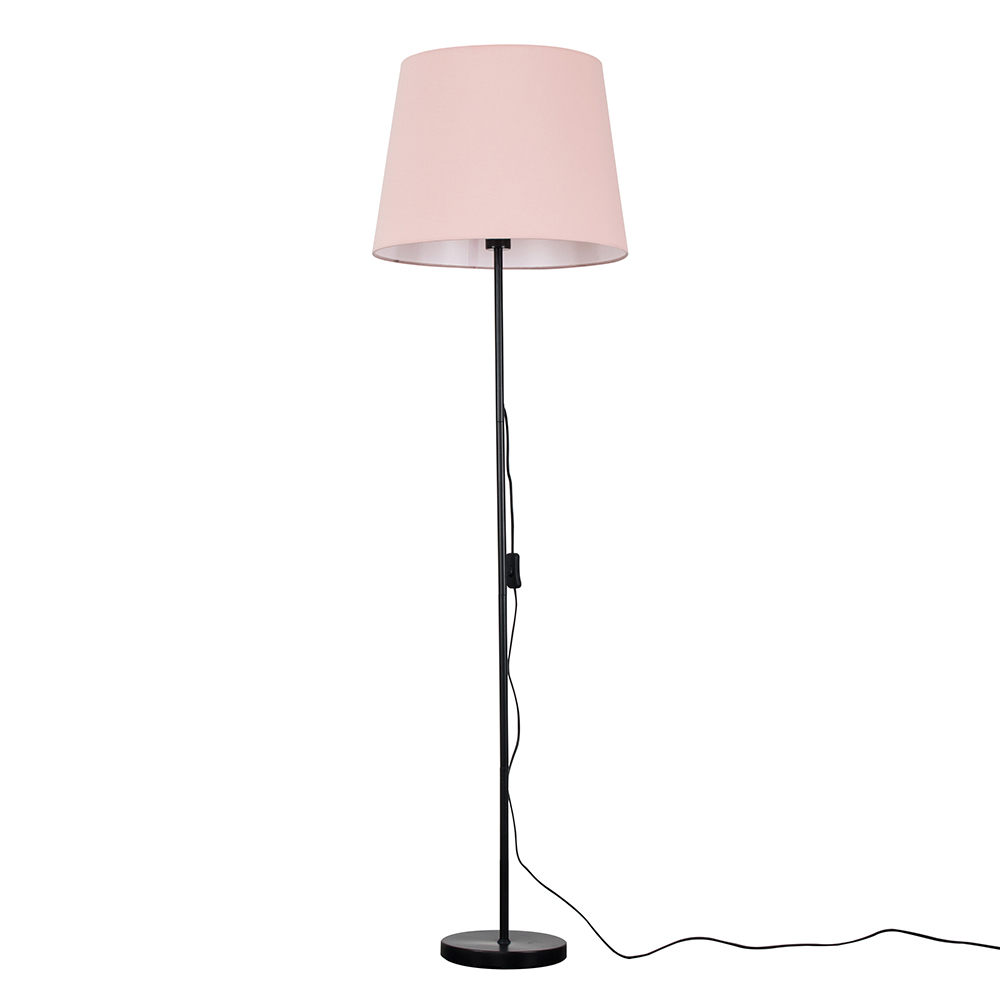 Charlie Black Floor Lamp with XL Dusty Pink Aspen Shade