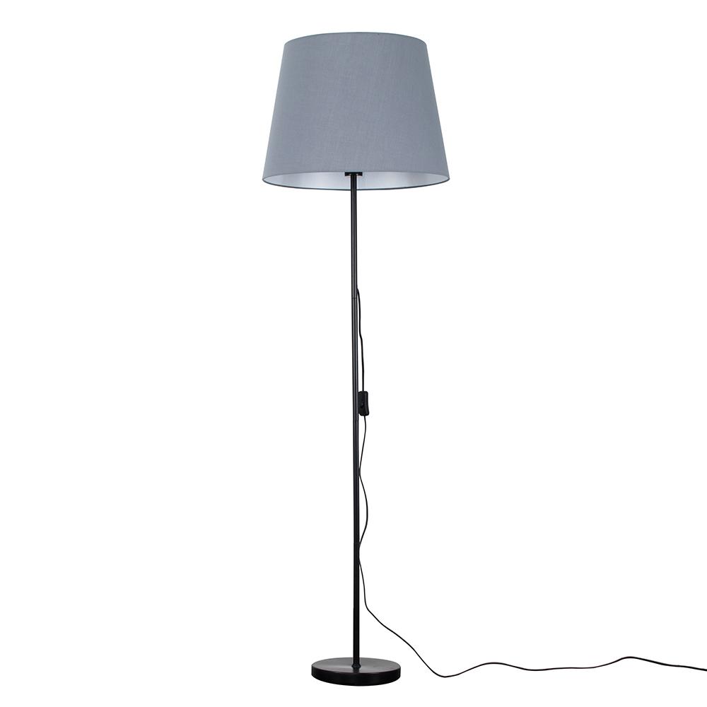 Charlie Black Floor Lamp with XL Grey Aspen Shade