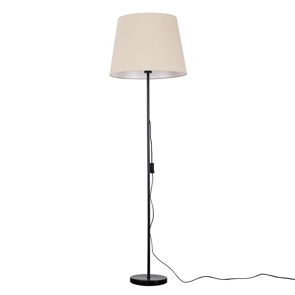 Charlie Black Floor Lamp with XL Beige Aspen Shade