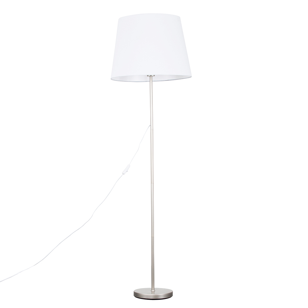 Charlie Brushed Chrome Floor Lamp with XL White Aspen Shade